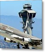 Asiana 747-400 And Lax Tower Metal Print