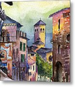Assisi Street Scene Metal Print by Lydia Irving