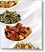 Assorted Herbal Wellness Dry Tea In Spoons Metal Print