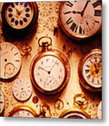 Assorted Watches On Time Chart Metal Print by Garry Gay