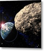 Asteroid Approaching Earth Metal Print by Roger Harris