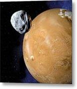 Asteroid Near Mars, Artwork Metal Print by Detlev Van Ravenswaay