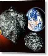 Asteroids Approaching Earth Metal Print