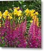 Astilbe And Lilies Metal Print