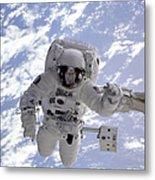 Astronaut Gernhardt On Robot Arm Metal Print