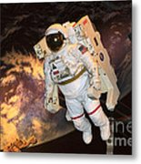 Astronaut In A Space Suit Metal Print