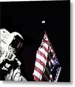 Astronaut Stands Next To The American Metal Print