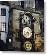 Astronomical Clock At Night Metal Print
