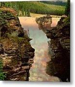 Athabasca Falls Evening Metal Print