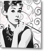 Audrey With A Twist Metal Print