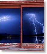 August Storm Red Barn Picture Window Frame Photo Art View Metal Print