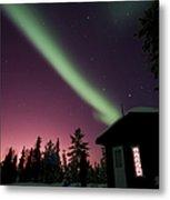 Aurora Borealis Above Cabin, Northwest Metal Print