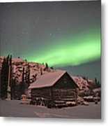 Aurora Borealis Over A Cabin, Northwest Metal Print