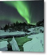 Aurora Borealis Over A Frozen Tennevik Metal Print