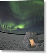 Aurora Borealis Over An Igloo On Walsh Metal Print by Jiri Hermann