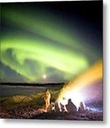 Aurora Watching, Time-exposure Image Metal Print