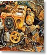 Auto Engine Block From A Wrecked Car Metal Print