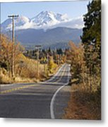 Autumn And Mt Shasta Down The Road Metal Print