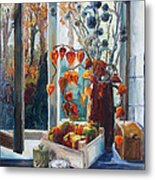 Autumn At The Kitchen Window Metal Print