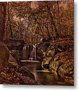 Autumn At The Waterfall In The Ravine In Central Park Metal Print