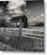 Autumn Barn Black And White Metal Print