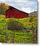 Autumn Barn Painted Metal Print