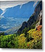 Autumn Below Evergreen Hills  Metal Print
