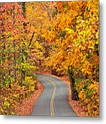 Autumn Drive Signal Mountain Metal Print