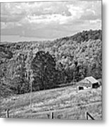 Autumn Farm 2 Monochrome Metal Print