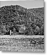 Autumn Farm Monochrome Metal Print