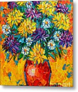 Autumn Flowers Gorgeous Mums - Original Oil Painting Metal Print