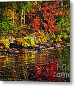 Autumn Forest And River Landscape Metal Print