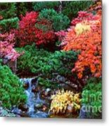 Autumn Garden Waterfall II Metal Print