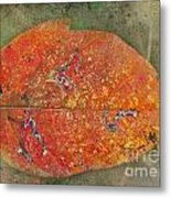 Autumn Leaf With Silver Trails Metal Print