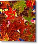 Autumn Leaves Collage Metal Print