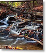 Autumn Moving Water With Foliage Metal Print
