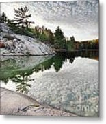 Autumn Nature Lake Rocks And Trees Metal Print
