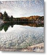 Autumn Nature Lake Rocks And Trees Panorama Metal Print
