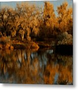 Autumn Reflections Painterly Metal Print
