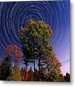 Autumn Star Trails In New Hampshire Metal Print by Larry Landolfi