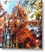 Autumn Street Perspective Metal Print