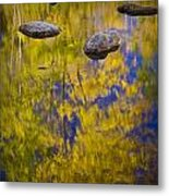 Autumn Tree Reflections With Rocks On The Muskegon River Metal Print