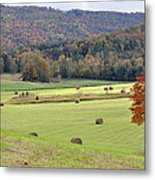 Autumn Valley Hay Bales Metal Print by Jan Amiss Photography