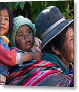 Aymara Women With Their Children. Republic Of Bolivia. Metal Print