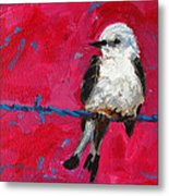 Baby Bird On A Wire Metal Print by Patricia Awapara