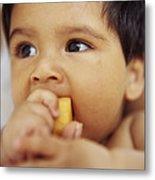 Baby Boy Eating Metal Print by Ian Boddy