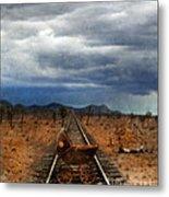 Baby Buggy On Railroad Tracks Metal Print