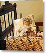 Baby Doll In Crib Metal Print