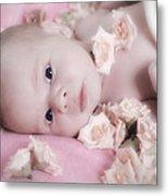 Baby In Bed Of Roses Metal Print