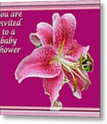 Baby Shower Invitation - Pink Stargazer Lily Metal Print